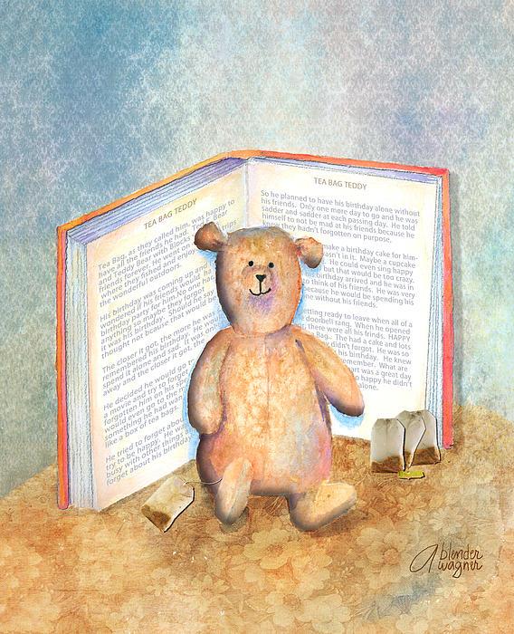 Tea Bag Teddy Print by Arline Wagner