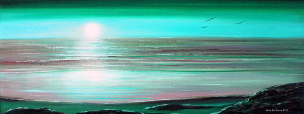 Teal Panoramic Sunset Painting