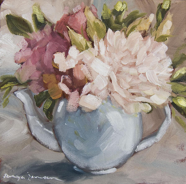 Teapot With Peonies Print by Tanya Jansen