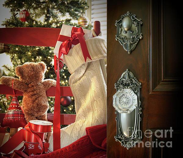 Teddy Waiting For Christmas Time Print by Sandra Cunningham