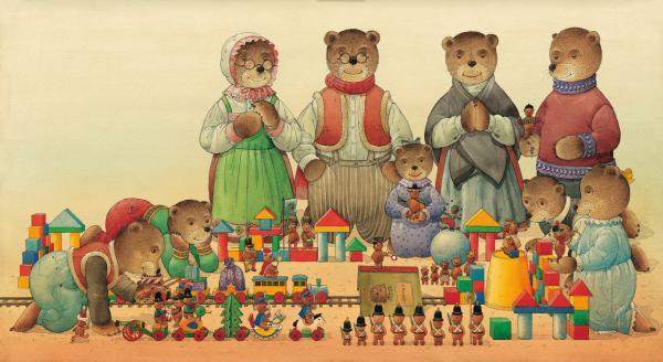 Teddybears And Bears Christmas Print by Kestutis Kasparavicius