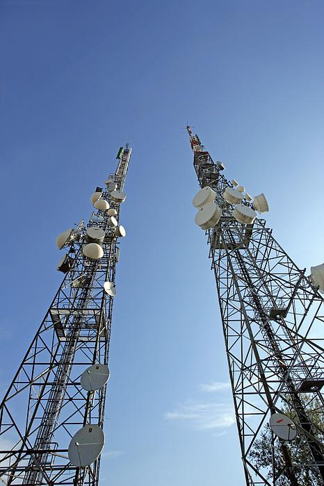 Telecommunications Masts Print by Carlos Dominguez