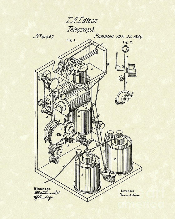 Telegraph 1869 Patent Art Print by Prior Art Design