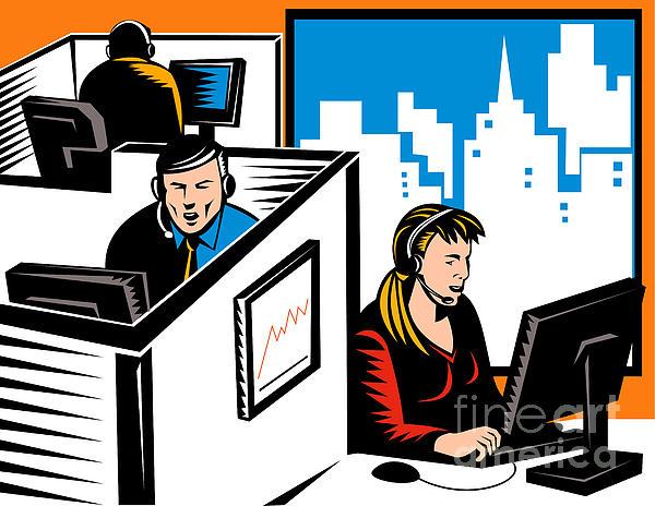 Telemarketer Office Worker Retro Print by Aloysius Patrimonio