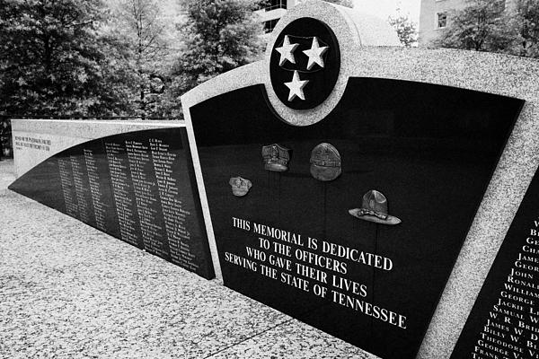 tennessee state police officer memorial war memorial plaza Nashville Tennessee USA Print by Joe Fox
