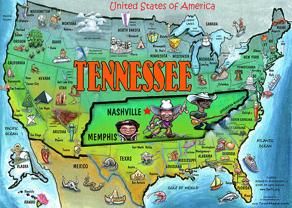 Tennessee Usa Cartoon Map By Kevin Middleton