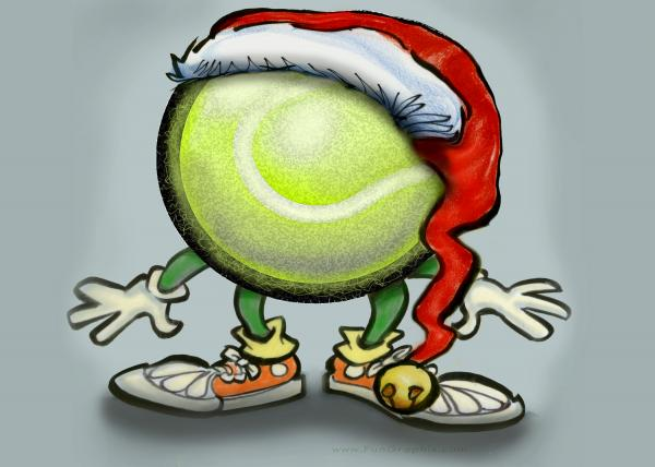 Tennis Christmas Greeting Card  - Tennis Christmas Fine Art Print