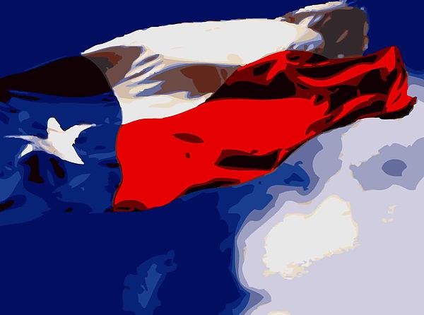 Texas Flag In The Wind Color 16 Print by Scott Kelley