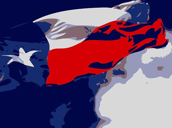 Texas Flag In The Wind Color 6 Print by Scott Kelley