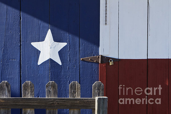 Texas Flag Painted On A House Print by Jeremy Woodhouse