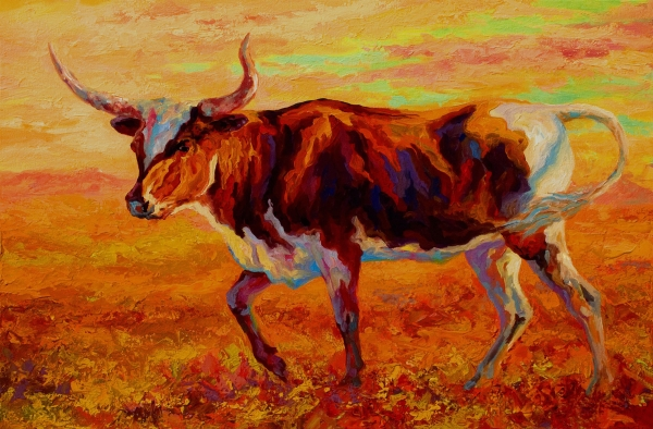 Texas Longhorn Print by Marion Rose