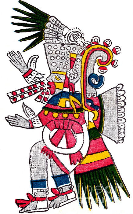 Tezcatlipoca, Aztec God Of Night, Codex Print by Photo Researchers