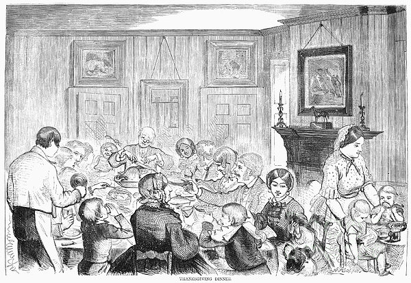 Thanskgiving Dinner, 1857 Print by Granger