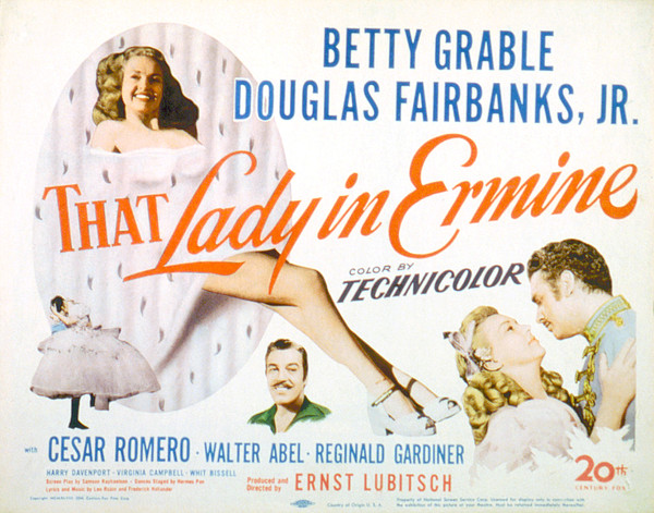 That Lady In Ermine, Betty Grable Print by Everett
