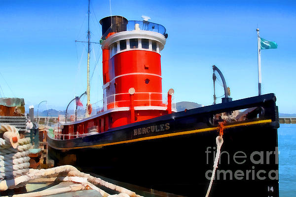The 1907 Hercules Steam Tug Boat . 7d14141 Print by Wingsdomain Art and Photography