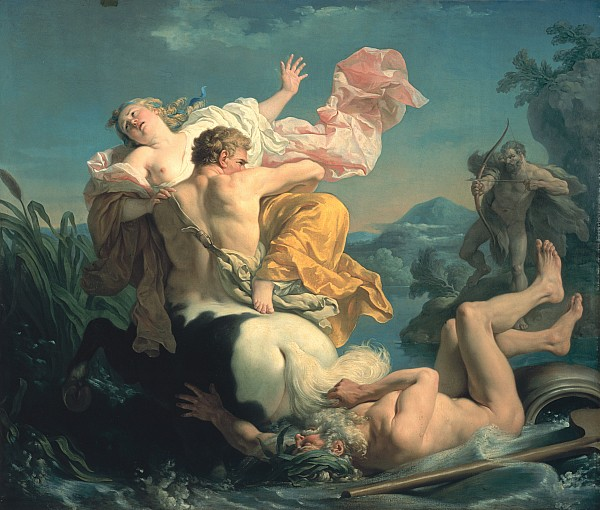The Abduction Of Deianeira By The Centaur Nessus Print by Louis Jean Francois Lagrenee