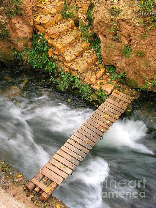 The Autumn Bridge Print by Issam Hajjar