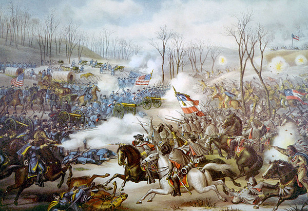 The Battle Of Pea Ridge, Arkansas Print by Everett