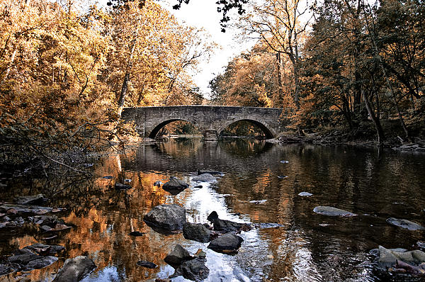 The Bells Mill Bridge In Autumn Print by Bill Cannon