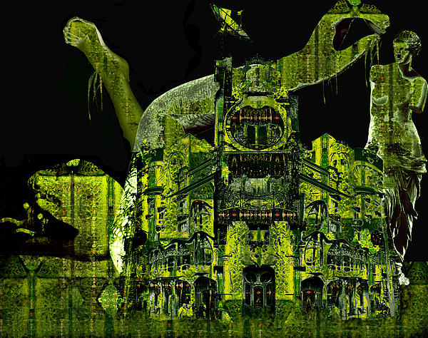 The Biomechanical Statue Garden Of Dr. Buttercup Print by Laura Fedora