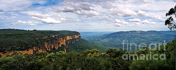 The Blue Mountains - Panoramic View Print by Kaye Menner