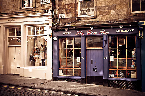 The Bow Bar. Edinburgh. Scotland Print by Jenny Rainbow