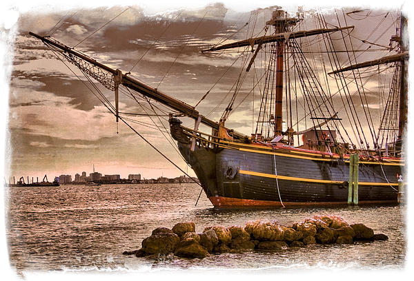 The Bow Of The Hms Bounty Print by Debra and Dave Vanderlaan