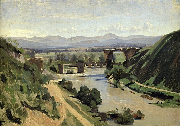 The Bridge Of Augustus Over The Nera Print by Jean Baptiste Camille Corot