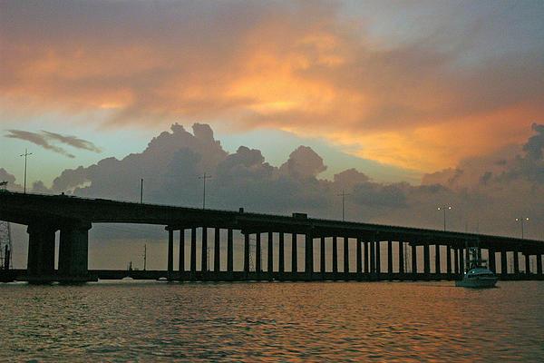 The Bridge To Galveston Print by Robert Anschutz
