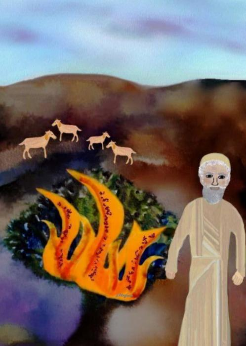 The Burning Bush Print by Sher Magins