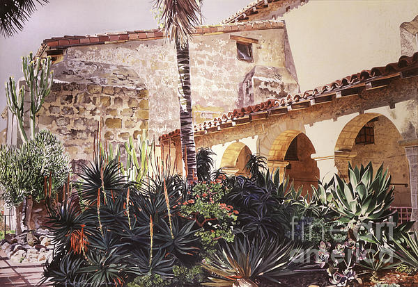The Cactus Courtyard - Mission Santa Barbara Print by David Lloyd Glover