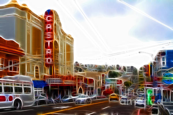 The Castro In San Francisco Electrified Print by Wingsdomain Art and Photography