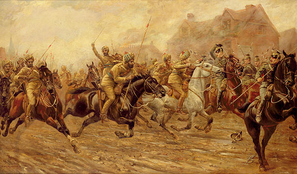 The Charge Of The Bengal Lancers At Neuve Chapelle Print by Derville Rowlandson