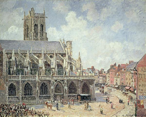 The Church Of Saint Jacques In Dieppe Print by Camille Pissarro