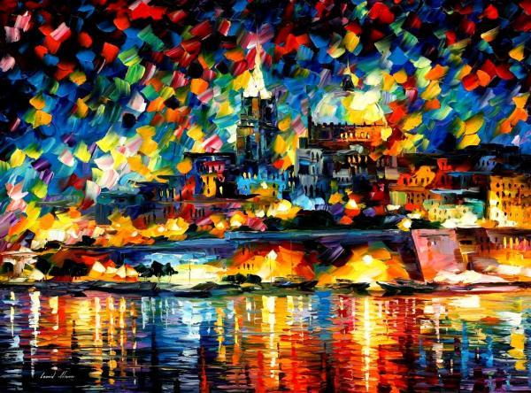 The City Of Valetta - Malta Print by Leonid Afremov