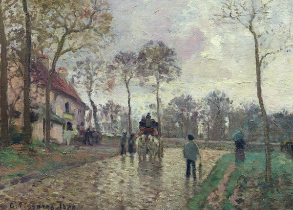 The Coach To Louveciennes Print by Camille Pissarro
