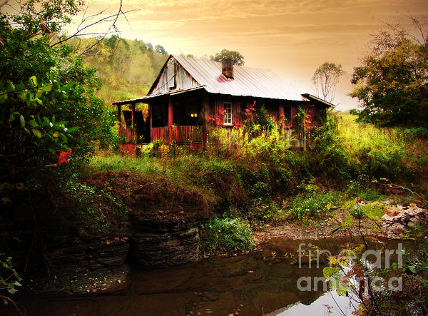 The Cottage By The Creek Print by Lj Lambert