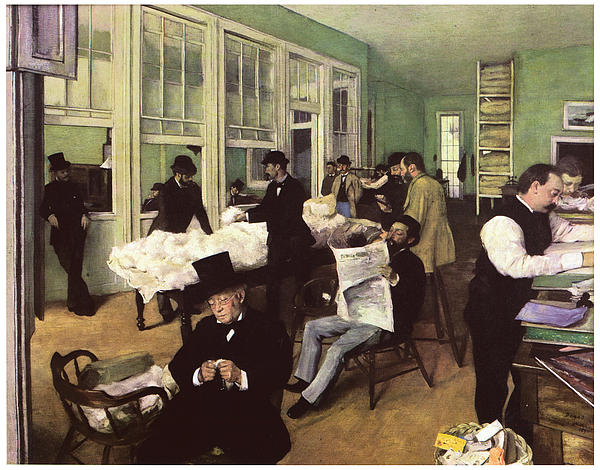 The Cotton Market In New Orleans Print by Edgar Degas