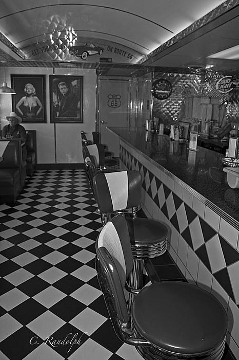 The Diner B And W Print by Cheri Randolph
