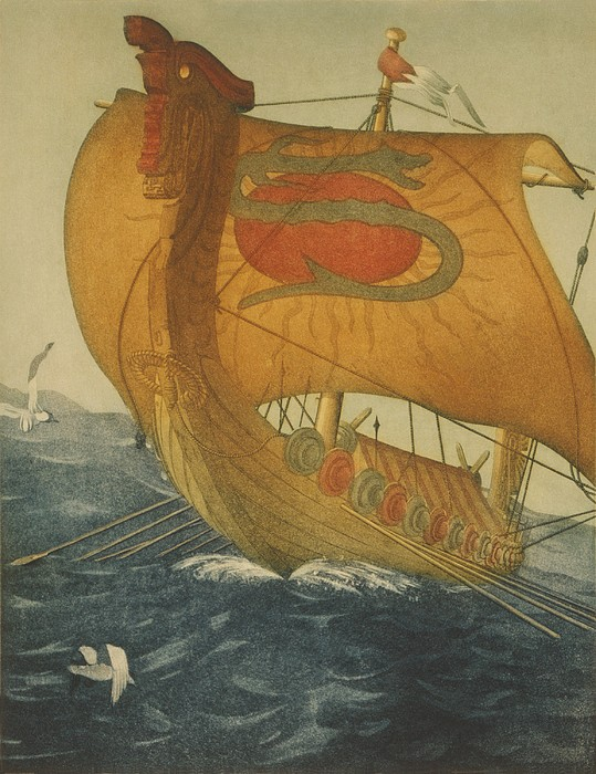 The Dragon Ship. Viking Ship At Sea Print by Everett