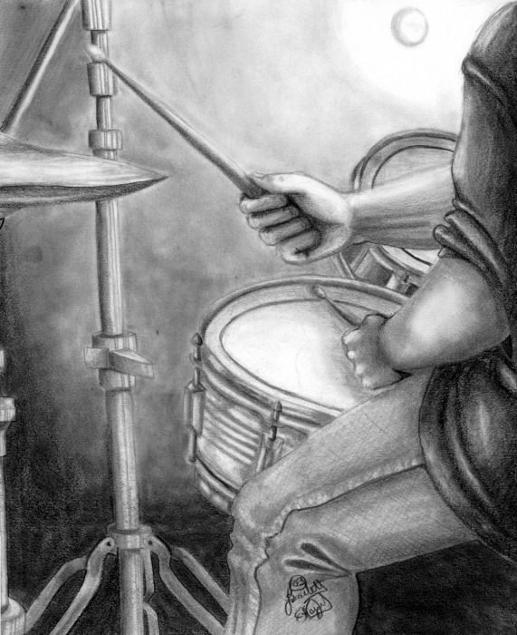THE DRUMMER Drawing by Scarlett Royal - THE DRUMMER Fine Art Prints ...