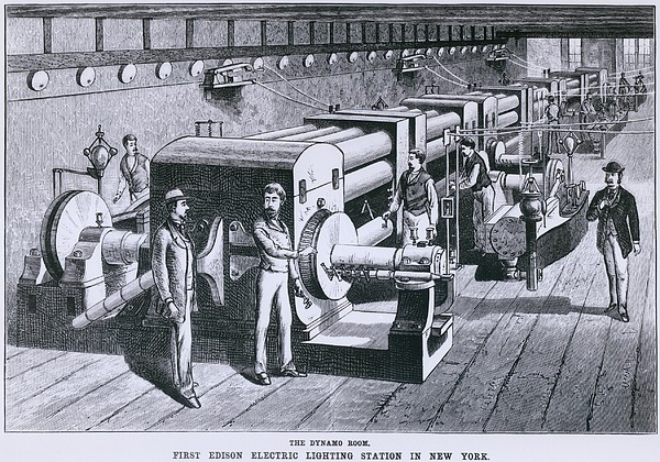 The Dynamo Room In The First Edison Print by Everett