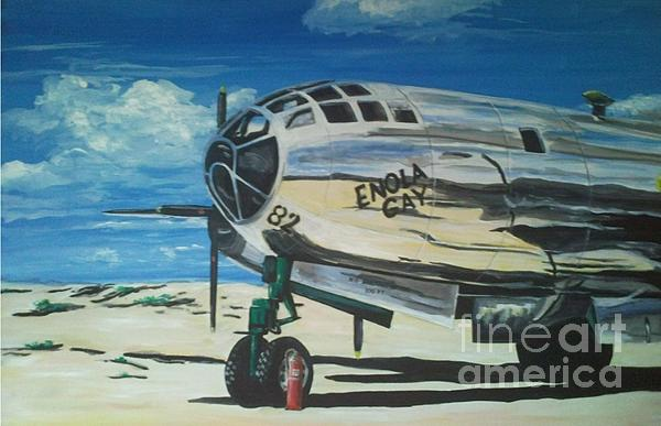 The Enola Gay B29 resting at Tinian WARBIRDS Painting - Richard John Holden