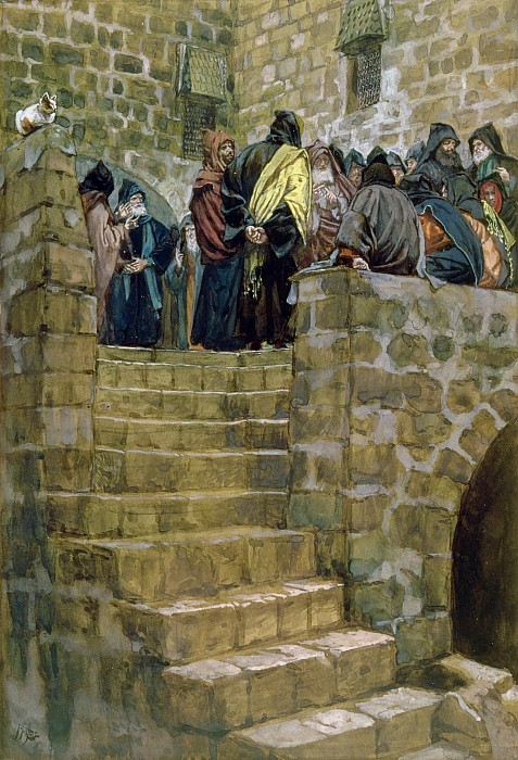 The Evil Counsel Of Caiaphas Print by Tissot