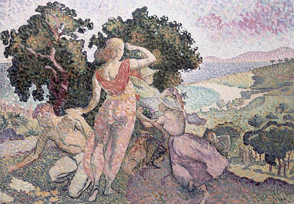 The Excursionists Print by Henri-Edmond Cross
