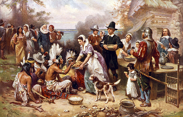The First Thanksgiving, 1621, Pilgrims Print by Everett