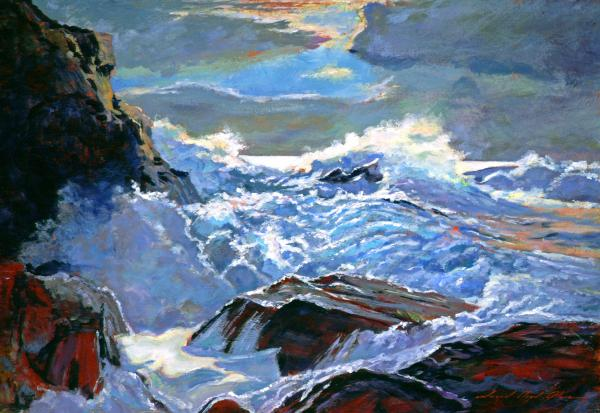 The Foaming Sea Print by David Lloyd Glover