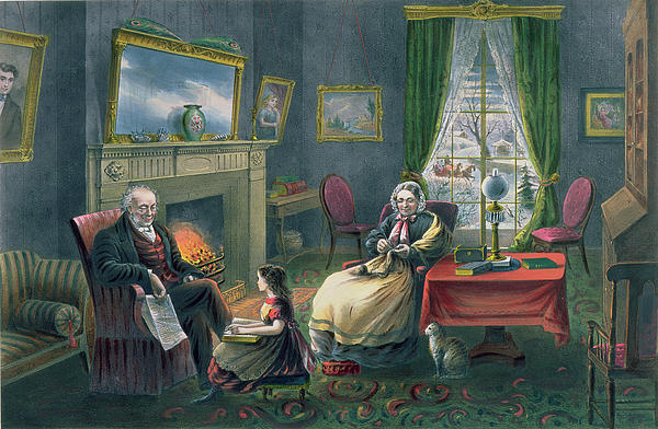 The Four Seasons Of Life  Old Age Print by Currier and Ives