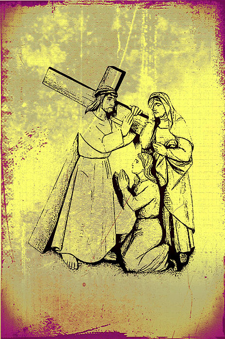 The Fourth Station Of The Cross - Jesus Meets His Mother Print by Bill Cannon