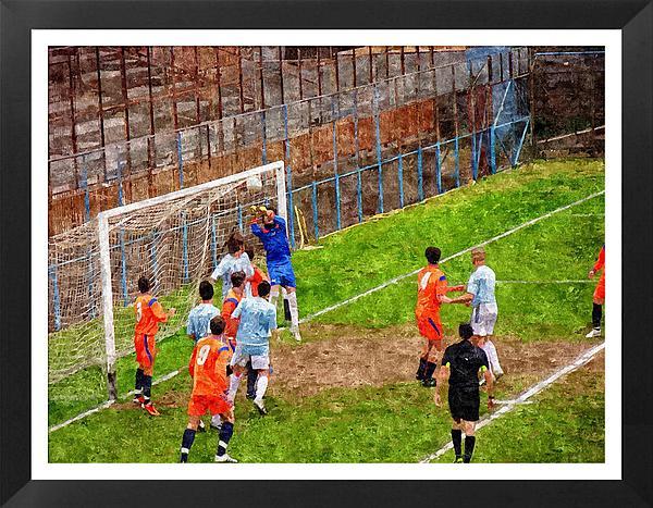 The Goalkeeper Saves A Goal Print by John Vito Figorito
